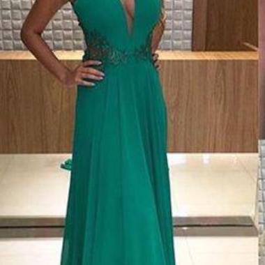 Green Chiffon Backless Evening Dresses Long Deep V-neck Open Back Prom Gowns robe de Prom Dresses