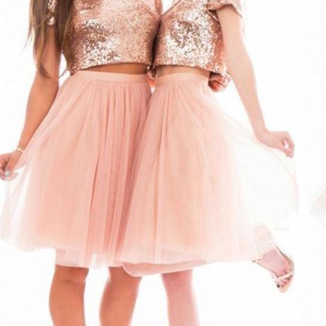 Sparkly Blush Pink Rose Gold Sequins Bridesmaid Dresses Beach Cheap Short Sleeve Plus Size Two Pieces Prom Party Dresses