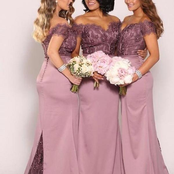 Off the Shoulder Plus Size Bridesmaid Dresses New Vintage Lace Top with Train Beaded Cheap Maid of Honor Gowns Long Formal Gowns