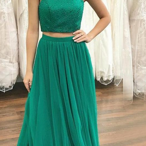 Teal Prom Dress for Women Two Pieces Gown Zipper Back Sweep Train quinceanera dresses Tulle A-Line Formal Evening Dresses