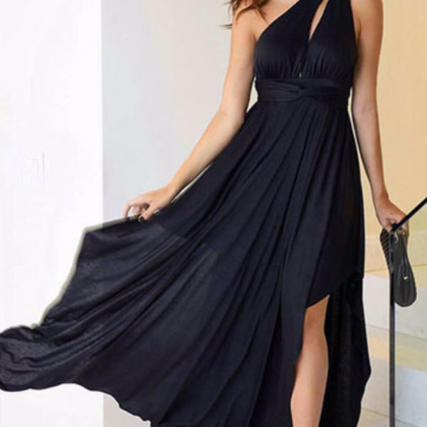 Black Chiffon One Shoulder Prom Dresses A-line Long Cheap Evening Formal Dress High Slit Sexy Party Dresses for Women