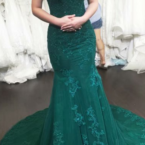 Luxury Evening Gowns Hunter Green Off Shoulder Mermaid Evening Dresses Long Formal Dress