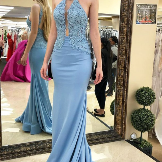 Mermaid Sky Blue Prom Dresses With Lace, Long Formal Evening Dress