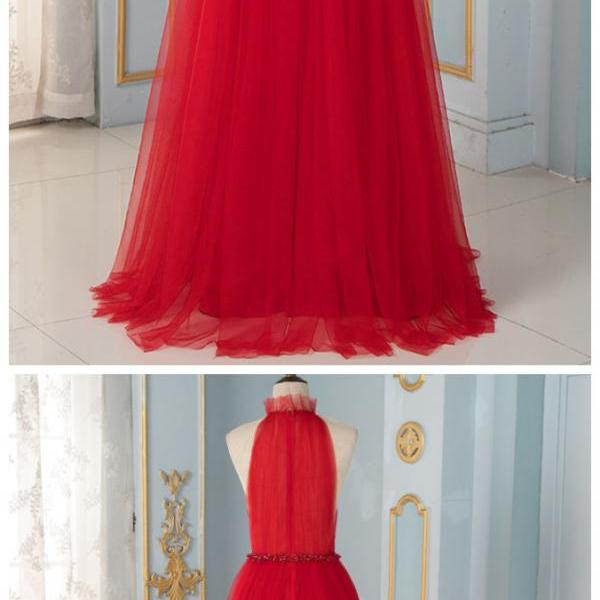 Stylish Dress Elegant Red High Neck Evening Dresses Long Formal Dress Party Evening Gown Robe De Soiree