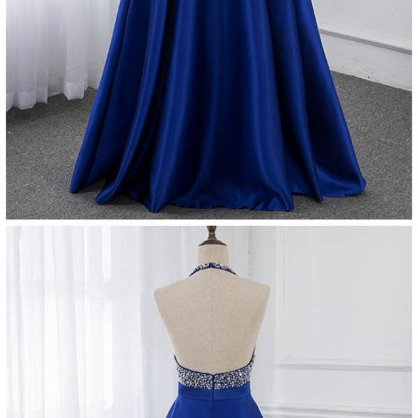 Stylish Dress Royal Blue Long Backless Prom Dresses Halter Crystals Beaded Satin Formal Party Dress