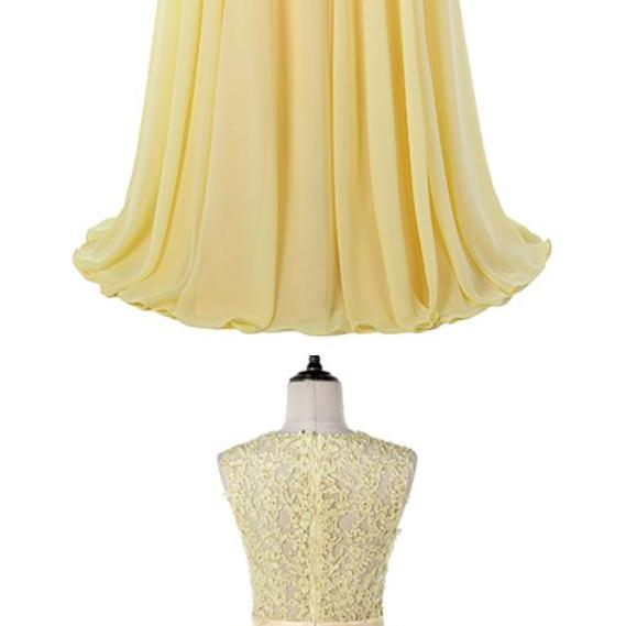 Stylish Dress Yellow Long Prom Dresses Lace Chiffon Evening Gown Vestido De Festa