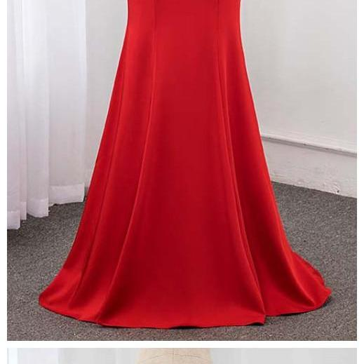 Stylish Dress Red Long Sleeve Beading Evening Dress Crystals Evening Gown Dresses Mermaid
