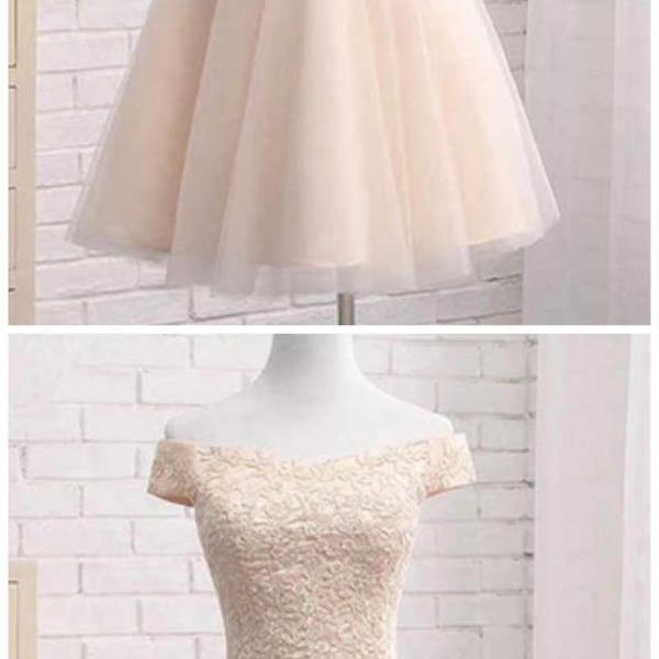 Stylish Dress off the shoulder v-neck mini evening dresses short sleeves applique fashion dress tulle strapless homecoming dress