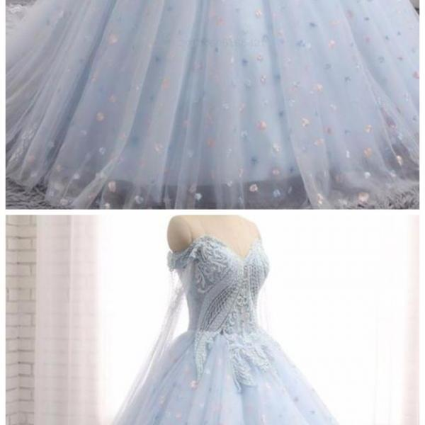Comfortable Appliques Sweetheart Baby Blue Tulle Long Lace Appliques Wedding Dress, Train Prom Dress