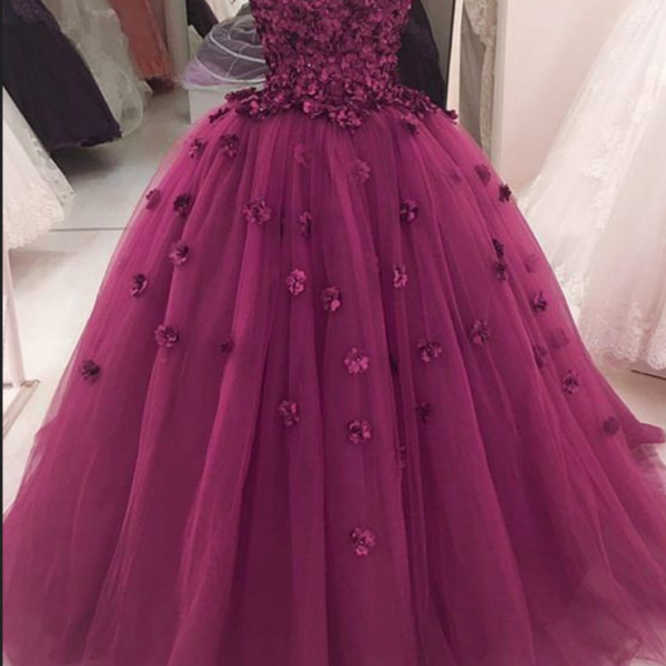 Gorgeous Flowers Sweetheart Tulle Ball Gowns Quinceanera Dresses