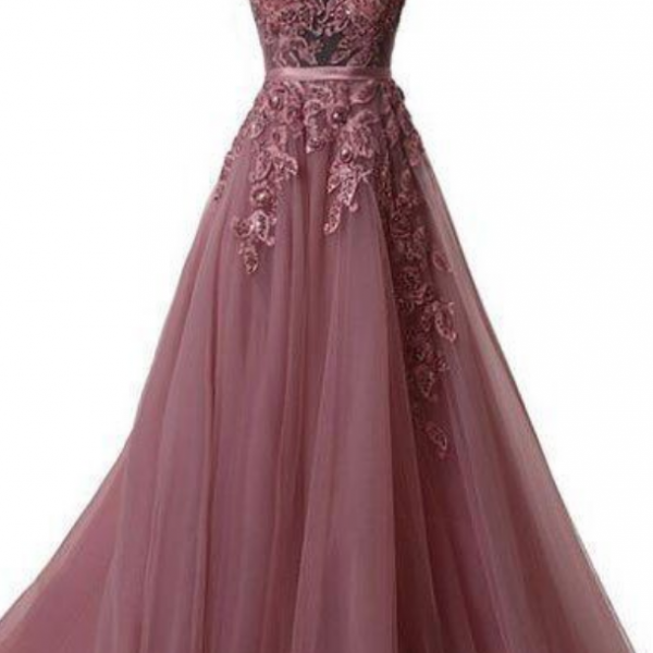 UNIQUE TULLE LACE APPLIQUE LONG PROM DRESS, TULLE EVENING DRESS