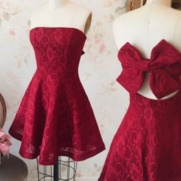 Red Strapless A Line Short Homecoming Dress with Huge Bow Back, Cute Party Dress