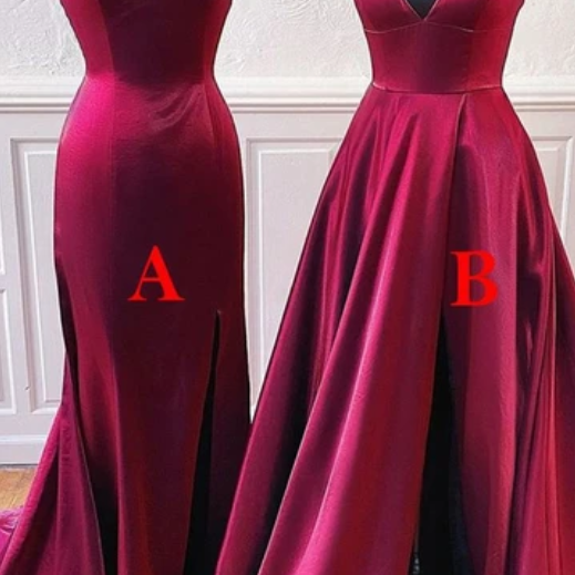 A-Line Burgundy Satin Long Simple Prom Dress