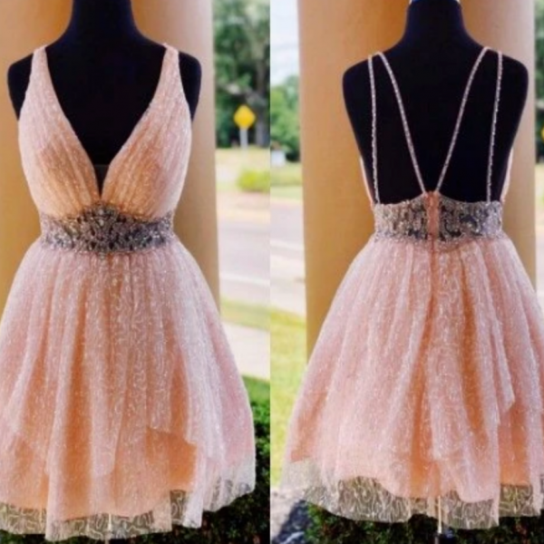 A-Line V-Neck Above-Knee Coral Short Homecoming Dress with Beading