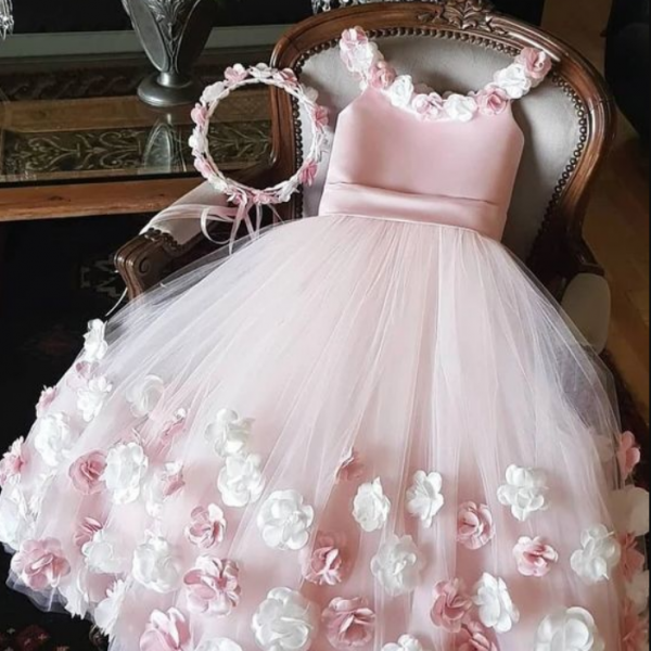 Pink Flower Girl Dress with 3D Flowers