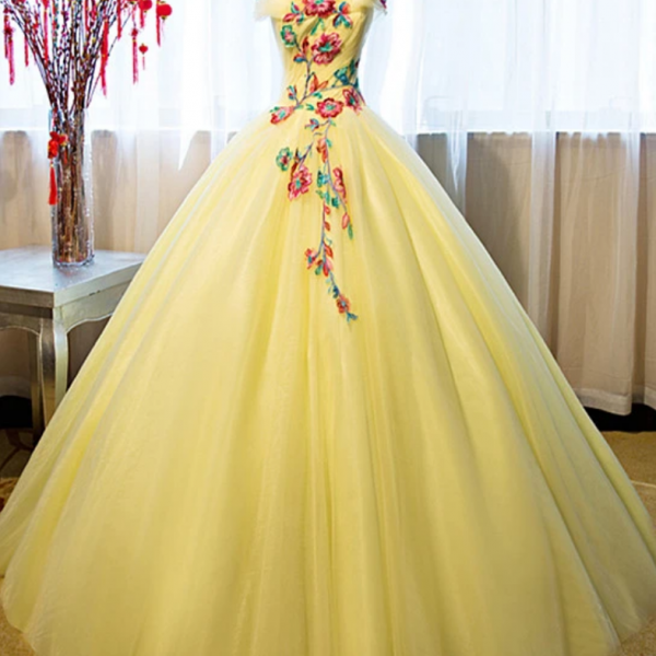 Yellow Tulle Ball Gown Sweet 16 Dress, Yellow Quinceanera Dress