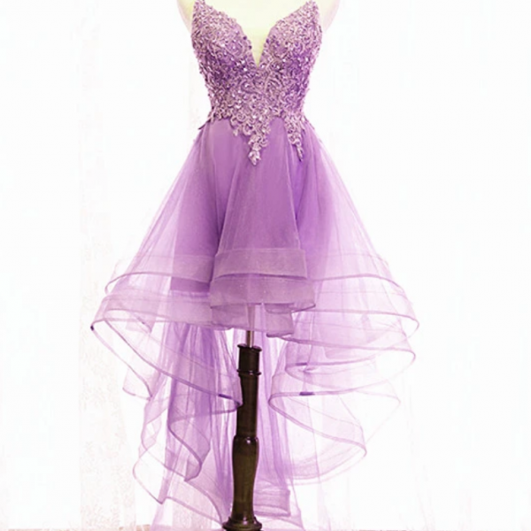 Homecoming Dress, High Low Straps Prom Dress