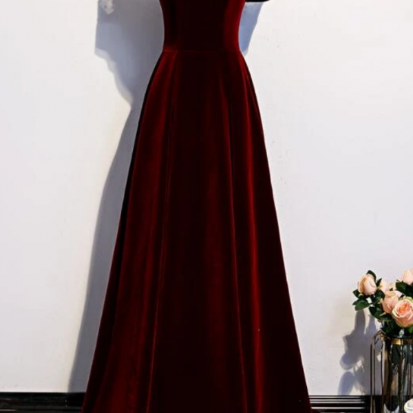 Charming Dark Red Velvet Long Prom Dress, Junior Prom Dress, Evening Gown