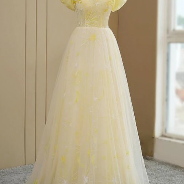 Yellow Tulle Off Shoulder Evening Dress, Fashion Long Prom Dress