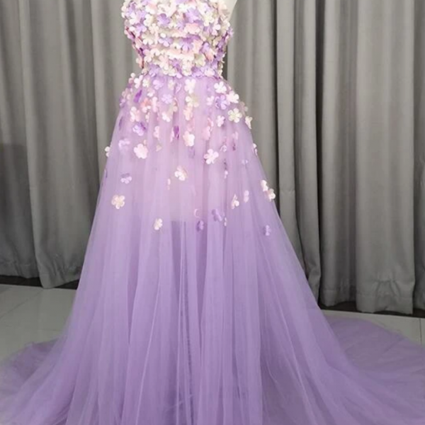 Tulle With Flowers Party Gown, Tulle Prom Dress