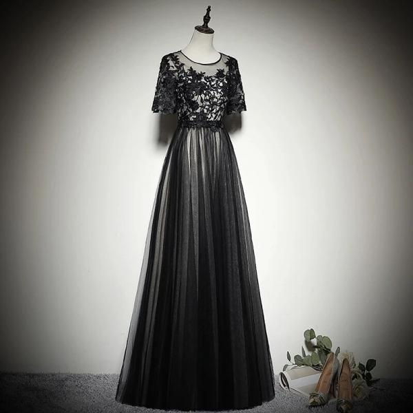 Black Tulle Long Prom Dress 2020, Black Party Dress With Lace Applique