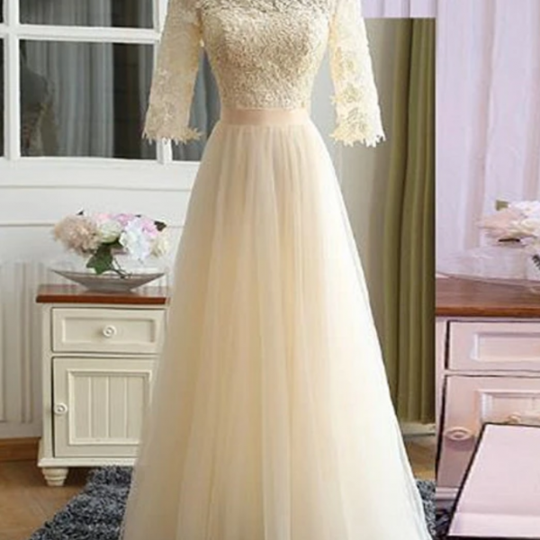 Cute A-Line Lace Sleeves Prom Dress, Tulle Formal Gown