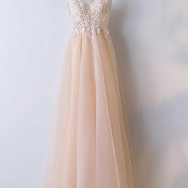 Lovely Tulle V-Neckline Long Party Dress, Party Dress