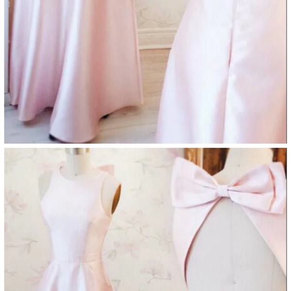Satin Backless Floor Length Prom Dress With Bow