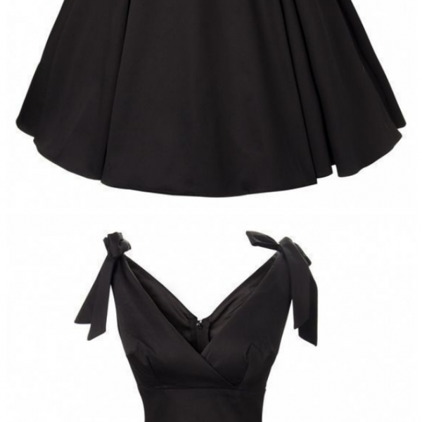 Black Short Homecoming Dress , V Neck Homecoming Dress