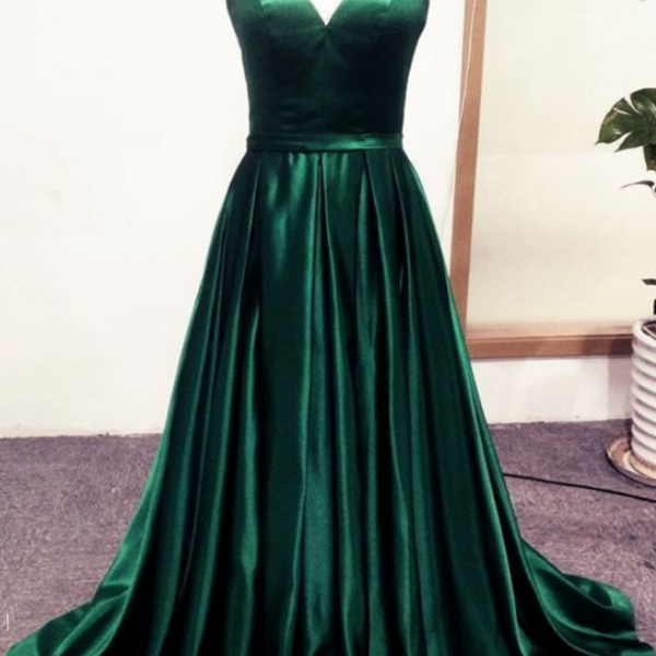 Sexy Prom Dresses Spaghetti Straps Long Slit Satin Evening Gown