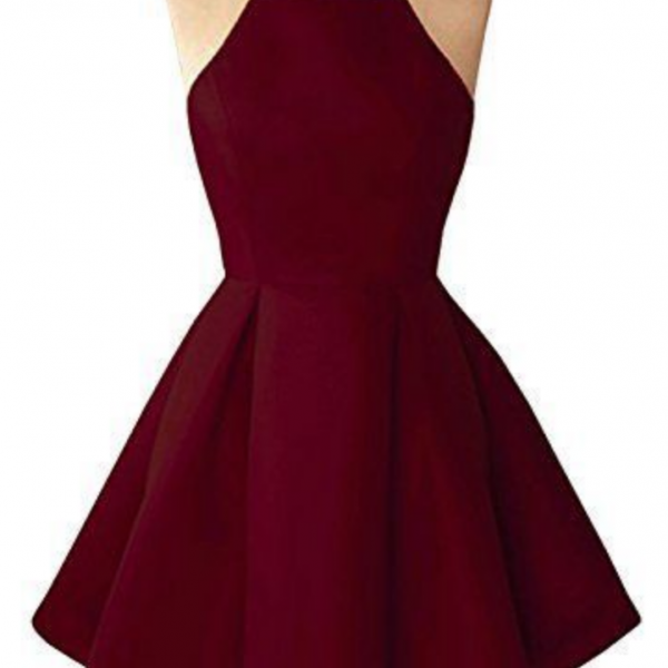 Simple Halter Sleeveless Pleated A-Line Short Homecoming Formal Dress