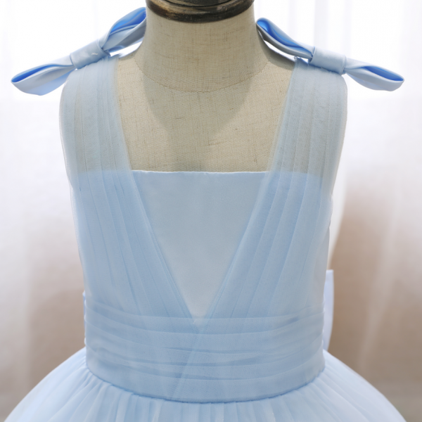 Flower girl dresses, 2021 Spring Summer Girl Dress Sleeveless Bow Shoulder Fluffy Dress Girls Mesh Blue Wedding Children Princess Dress Banquet Girls