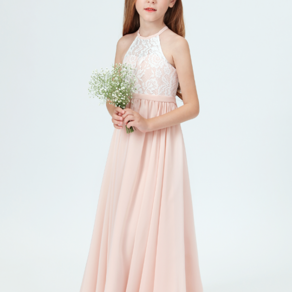 Flower girl dresses, New Girls Lace Bridesmaid Dresses For Wedding Pleated Floor Length Girl Beach Wedding Guest Party Princess Gowns Long Prom Dress
