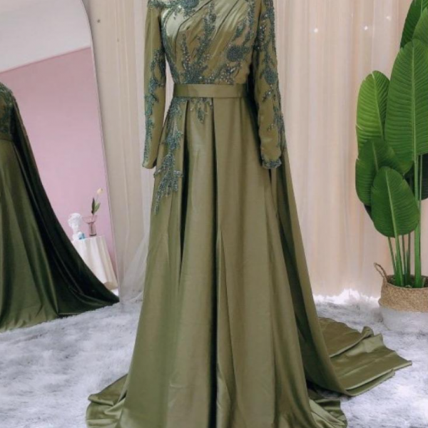 Custom made Prom Dress Long Sleeves Dubai Evening Dresses Muslim Women Wedding Party Gowns 2021 Elegant Modest Arabic Engagement