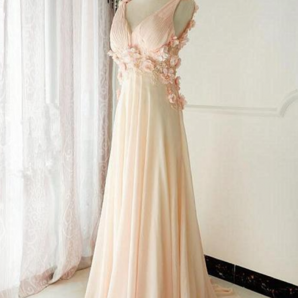 V Neck Court Train Long Party Dress, Long Chiffon Prom Dress