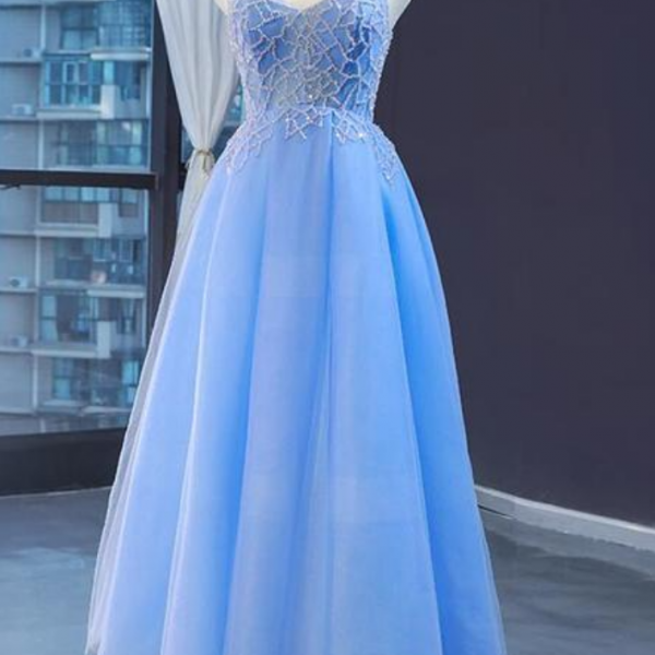 V-neckline Tulle Beaded Long Straps Beaded Dress, Fashionable Formal Dress Prom Dress