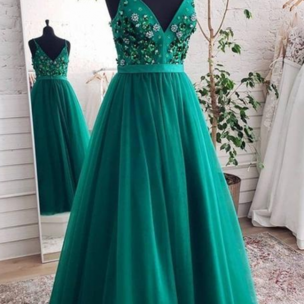 Charming V neck Prom Dress, Tulle Evening Dress